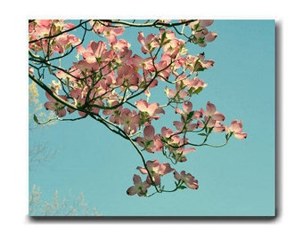 Dogwood canvas wall art, pink Dogwood tree flowers floral branch, aqua turquoise light pink wall art, baby girls room art nursery wall decor