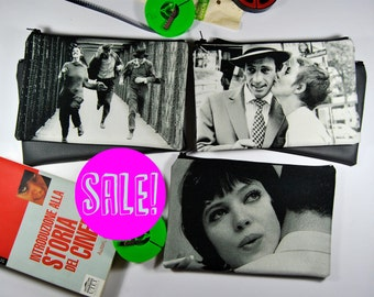 SALE! Movie purse NOUVELLE VAGUE Zipper pouch, black and white cinematographic purse. Charcoal faux leather back.