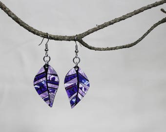 Purple Collage Abstract Art Paper Leaf Earrings