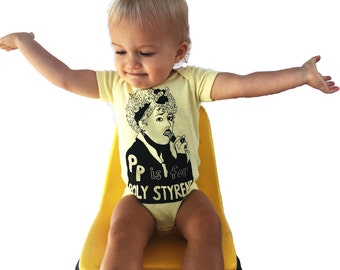 "Feminist Onesie - P is for Poly Styrene w/ 9X12"" Screen Print Feminist Gift Set"