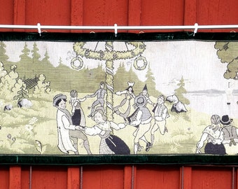 Antique Swedish Tapestry, Textile Wall Hanging, Traditional Folk Motif, Midsummer Feast, Dancing around the Maypole, Summer Holiday,  Sweden
