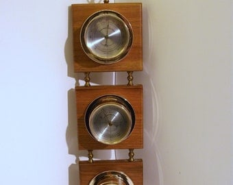 Vintage Wooden Weather Station Springfield Thermometer Barometer Humidity Meter.