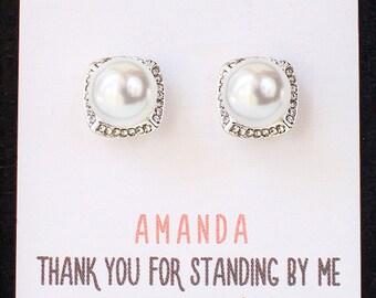 Bridesmaid Pearl Earrings, Wedding Pearl Jewelry, Mother of the Bride Gift Pearl Jewelry Pearl Bridesmaid Jewelry Bridesmaid Earrings E324-S
