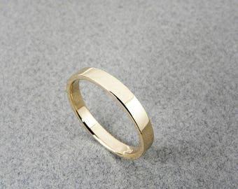 14k Yellow Gold Wedding Band - Shinny Finish - Flat - Handmade - Men - Women - 2,3,4,5,6,7,8,9 or 10mm wide.Thickness 1.2mm.FREE SHIPPING.
