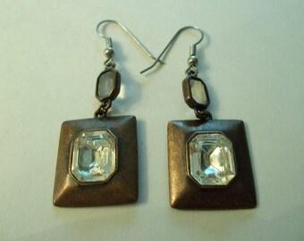 Sparkling Dangling  Rhinestone  Bronze Copper Earrings.