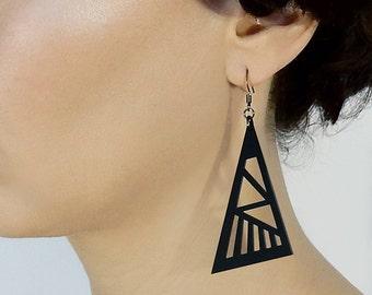 Black earrings, Matte Black Acrylic earrings, Statement earrings, Big Large Lightweight earrings, Modern Geometric earrings, Laser cut Plexi