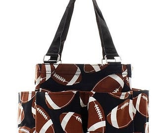 Personalized Football Print Small Zipper Top Caddy Utility Tote * Monogrammed  Organizer Tote * Custom Embroidered with Name or Monogram 903