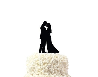 Wedding cake topper, with silhouettes, cake topper, 30 colors available, custom made cake topper