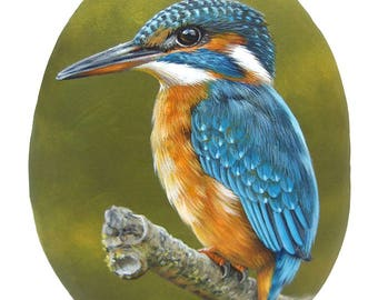 An Elegant Kingfisher Hand Painted on a Sea Rock! Rock Painting Art by Roberto Rizzo | 100% Original Fine Art!