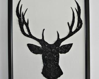 Black Stag Button Art Picture