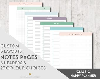 HAPPY PLANNER Printable Notes and To Do Pages - CLASSIC Happy Planner - Inserts Filofax Printable Planner Pages, Notes, Lists, Grid, Dot