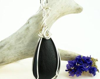 Black Lake Superior Pendant - Wire Wrapped Black Pendant - Lake Superior Jewelry - Black Stone Pendant