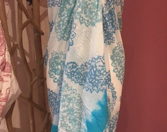Indian Hand Block Printed Fabric Scarf 100% Organic Turquoise and white