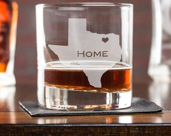 Etched Whiskey Glass, Texas Whiskey Glass, Personalized Rocks Glass, Mens Gift, State Glass, Gift For Him, Scotch Glass, Housewarming Gift