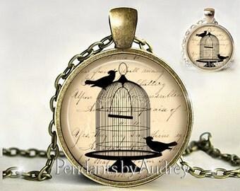 Birdcage Necklace,Bird Jewelry,Pendant,Birds in Cage Necklace,Bird Jewelry,Jewellery,Gift,Picture,Glass,Art Pendant