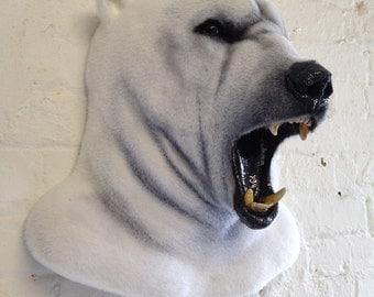 Faux Taxidermy Polar Bear Head Animal Friendly Decorative Art Handmade in Wales, Great Britain Life Size