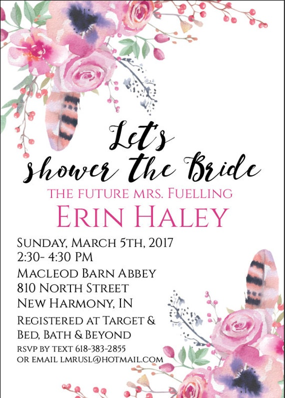Let's shower the bride Watercolor Flower and feathers (You Print It Yourself)