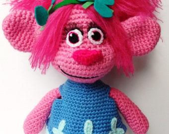 Made-to-order Crochet Poppy the Troll. Princess Poppy Handmade Plush.