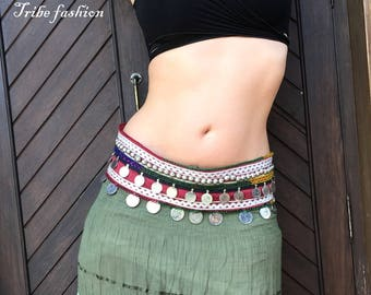 Belly dance costume, tribal belly dance, gypsy belt, tribal fusion belt