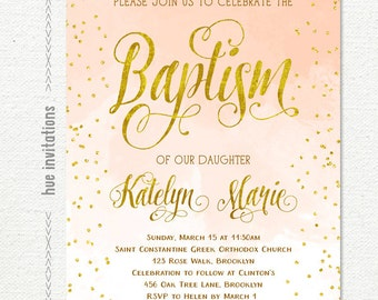 baptism invitation girl, peach gold baptism invitation printable, coral ombre watercolor bautizo invitation, lds baptism digital file