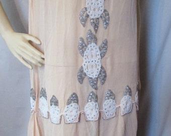 SALE! Flapper Beaded Dress 1920 Era Party Dress Peach Chiffon Dress Silver Tone Seed Beads Faux Pearl Beads Vintage Clothing Dance Dress