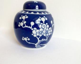 Gorgeous Chinese Ginger Jar, Porcelain Jar, Chinese Blue and White China