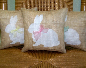 Bunny pillow, Easter pillow, Spring pillow, burlap pillow, stenciled pillow, Easter decor, Nursery pillow, Rabbit pillow, FREE SHIPPING!