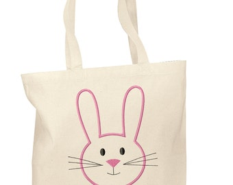 Easter bunny bag etsy personalized cotton tote bags custom easter gift bags easter tote bag negle Image collections