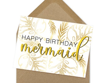 Happy Birthday Mermaid, gold card, mermaid card, adult birthday, birthday card, instant download, calligraphy card, printable | A6