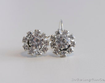 18th Century Style Reproduction Rhinestone Cluster Earrings.  Rococo, Colonial, Georgian, Regency, 19th Century, Historical.