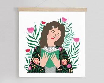 8 x 8in | Girl reading art print | Floral Art | Illustration | Digital Print | Botanical Illustration | Painting | Fashion | Home Decor