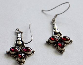 GARNET DANGLE EARRINGS Estate Sterling Silver Garnet Bali Style Fish Hook Long Earrings Holiday Gift Ideas For Her Birthday Gift Under 100