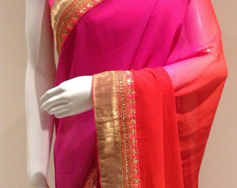 Designer saree in shaded pink