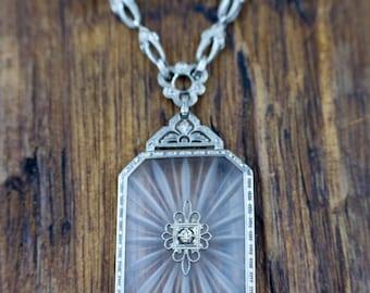 Antique 1920's Art Deco Camphor Glass & Diamond Necklace 14k White Gold