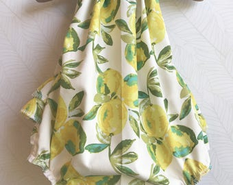 Lemon Drops Ruffled Baby Girl Romper. Baby Girl Romper. Baby Romper. Ruffle Romper. Sun Suit. Baby Bubble Romper.