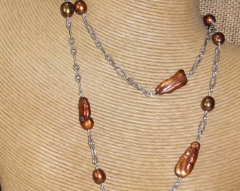 Sterling Silver Brown Fresh Water Pearl Necklace
