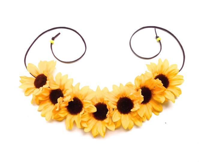 Big, beautiful sunflower crown on adjustable band, hippie flower crown headpiece on simple adjustable leather band, Coachella flower crown