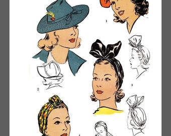 Vintage DuBarry Millinery Turban Beret Hat Fabric material sewing pattern #5016B Copy