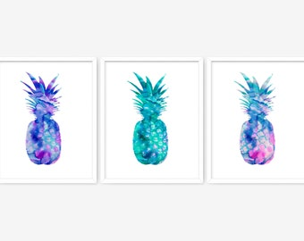 Pineapple art series - printable artwork series - printable posters - printable modern wall art series - pineapple decor - INSTANT DOWNLOAD