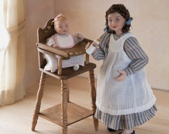 Girl in articulated porcelain, striped dressed 1:12 scale (dollhouse). OOAK