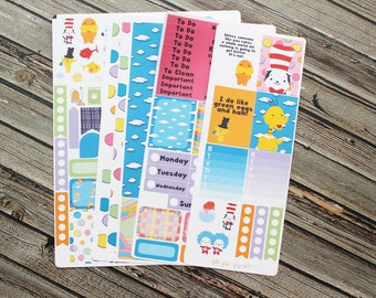 Seuss Inspired Weekly Planner Full Kit - Planner Stickers - for use with Erin Condren Life Planner - Happy Planner