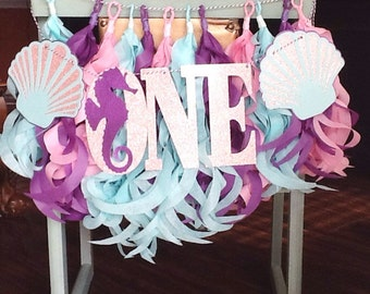 Mermaid high chair banner-Under The Sea High Chair Banner- Mermaid party decor-Mermaid Party photo props-Mermaid Tassel Garland