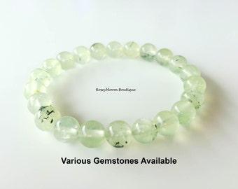 8mm Genuine Prehnite Bracelet-Green Prehnite Bracelet-Green Stone Bracelet-Gemstone Bracelet-Green Women Bracelet-Bracelet-Natural Prehnite