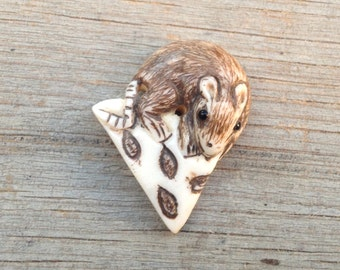 Cute Carved Bone Mouse and Cheese Bead - 1 Inch