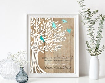 Mother's Day Gift for Mom, Personalized Family Tree  from children to Mom, Family Tree with birds