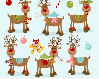 80% OFF SALE Reindeer Clipart, Christmas Clipart, Rudolph, Red Nosed Reindeer, Printable, Commercial Use