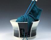 Large Yarn Bowl, Ceramic Yarn Bowl, Black, Gray and White Yarn Bowl, Porcelain Knitting Bowl, Ombré Ceramic Yarn Holder, Pottery Yarn Bowl