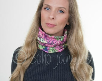 Neckwarmer Scarf Tropical Leaf Print, Neck Warmer Snood, Stretchy Jersey, Headband, Infinity Scarf, Running, Knit Scarf, Scarves, Yoga