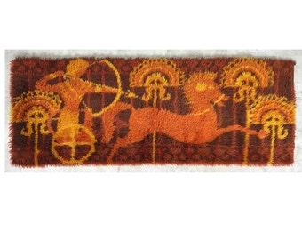 6x2 Vintage Mid Century Modern Shag Rya Rug Carpet Etruscan Horse Orange Brown