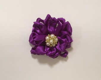 Knot Flower with Brooch Center, Lavender Satin Flower, 3.5 x 3.5 inches,